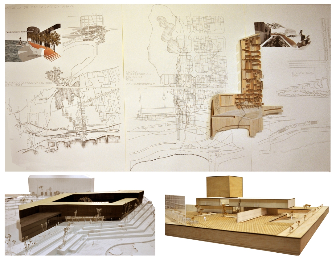 Paneles y maquetas de los alumnos Borja Abasolo, Salvador Rodriguez y Rómulo Deza
