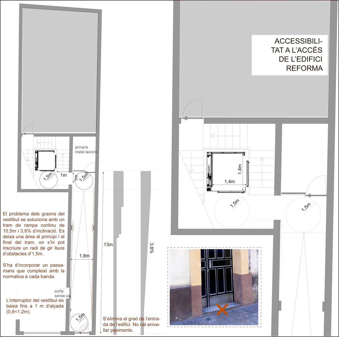 Accesibilitat a l'accés de l'edifici. Reforma © Gisela Riba Steiger