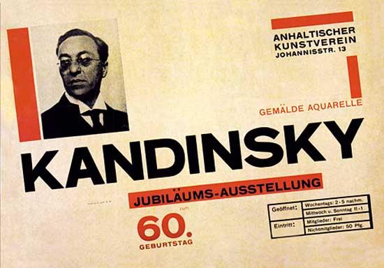Poster para la exposición del 60º cumpleaños de Kandinsky, Herbert Bayer,1926