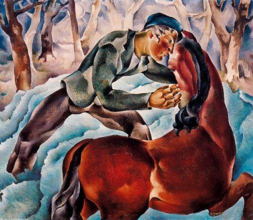 El caballo y él. 1931. Oli sobre tela. 87 x 101 cm. Colección particular. Madrid.