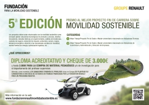V convocatoria del premio al Mejor Proyecto Fin de Carrera relacionado con la movilidad sostenible