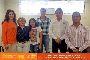 Prestatarios de Servicio Social sirven con  humanismo en Valores UA